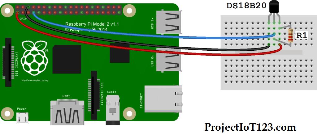 Raspberry Pi gpio interface with Temperature sensor ds18b20