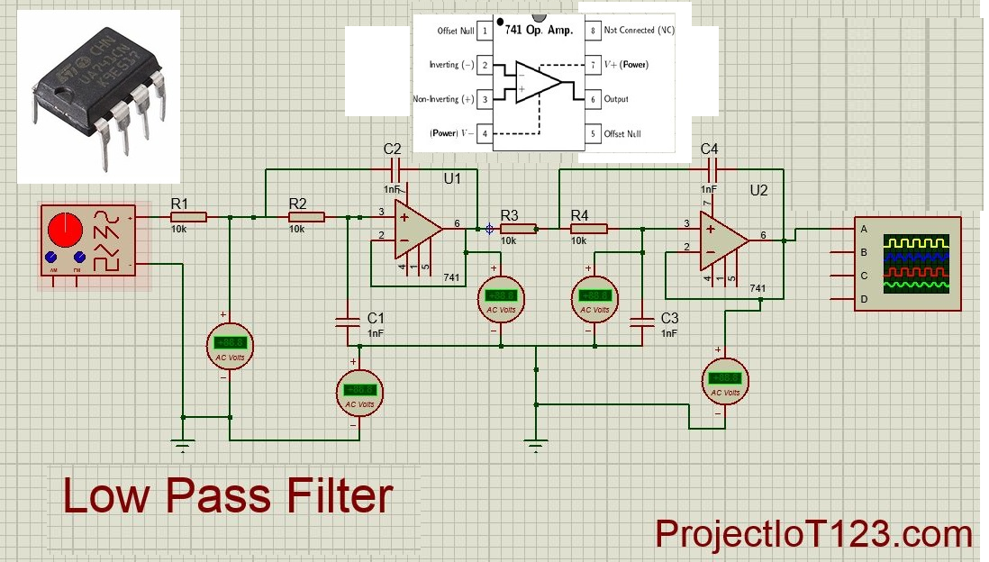 Operational Amplifier Active Low Pass Filter
