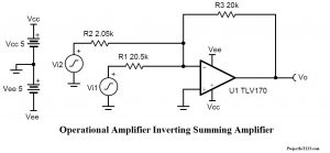 Operational Amplifier summing amplifier, summing amplifier,Op amp summing amplifier,741 summing amplifier,Operational Amplifier 741 summing amplifier