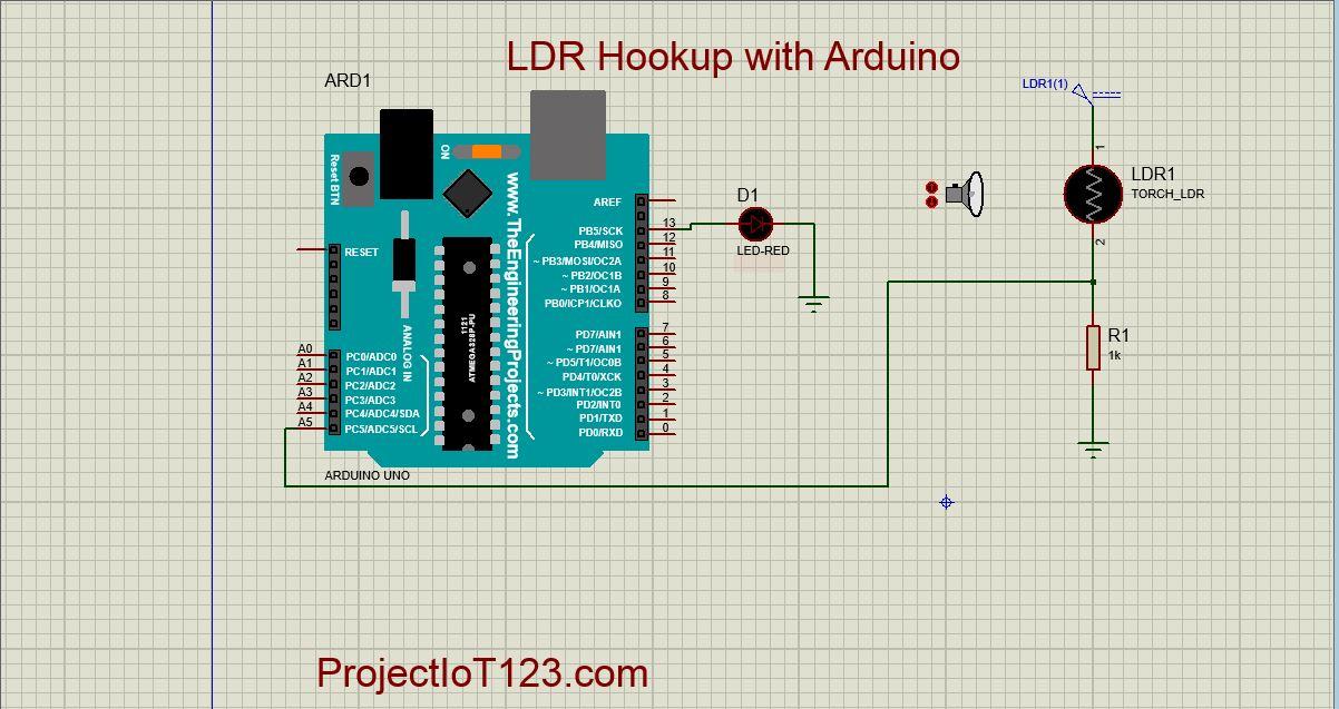 Arduino LDR Sensor Sensor Simulation in Proteus - projectiot123
