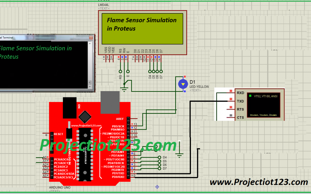 Flame Sensor Simulation in Proteus