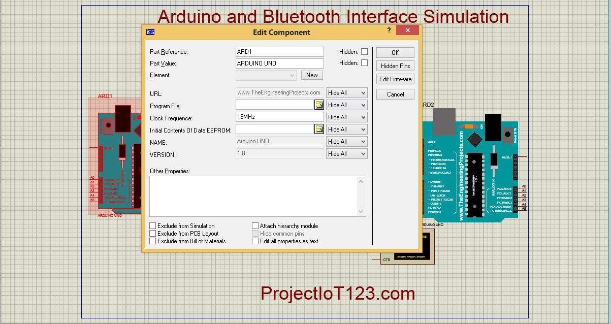 Bluetooth Module Simulation in Proteus - projectiot123