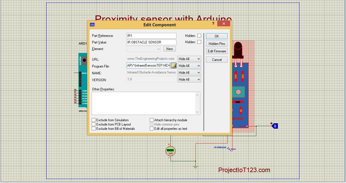 Proximity Sensor simulation in Proteus - projectiot123
