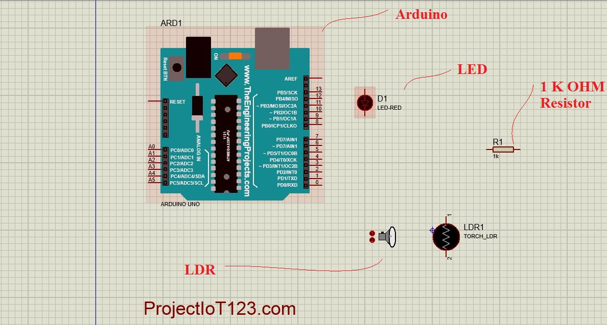 Arduino LDR Sensor Sensor Simulation in Proteus - projectiot123
