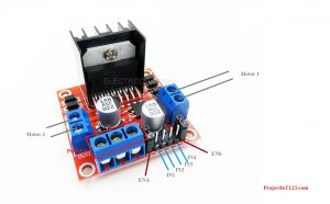 Pin Configuration of the L298 Motor Driver , L298 Motor Driver pinout, L298 Motor Driver