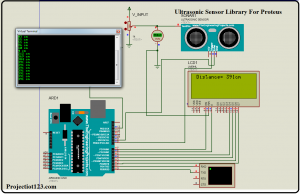 ultrasonic sensor library in proteus,ultrasonic sensor USING arduino lcd