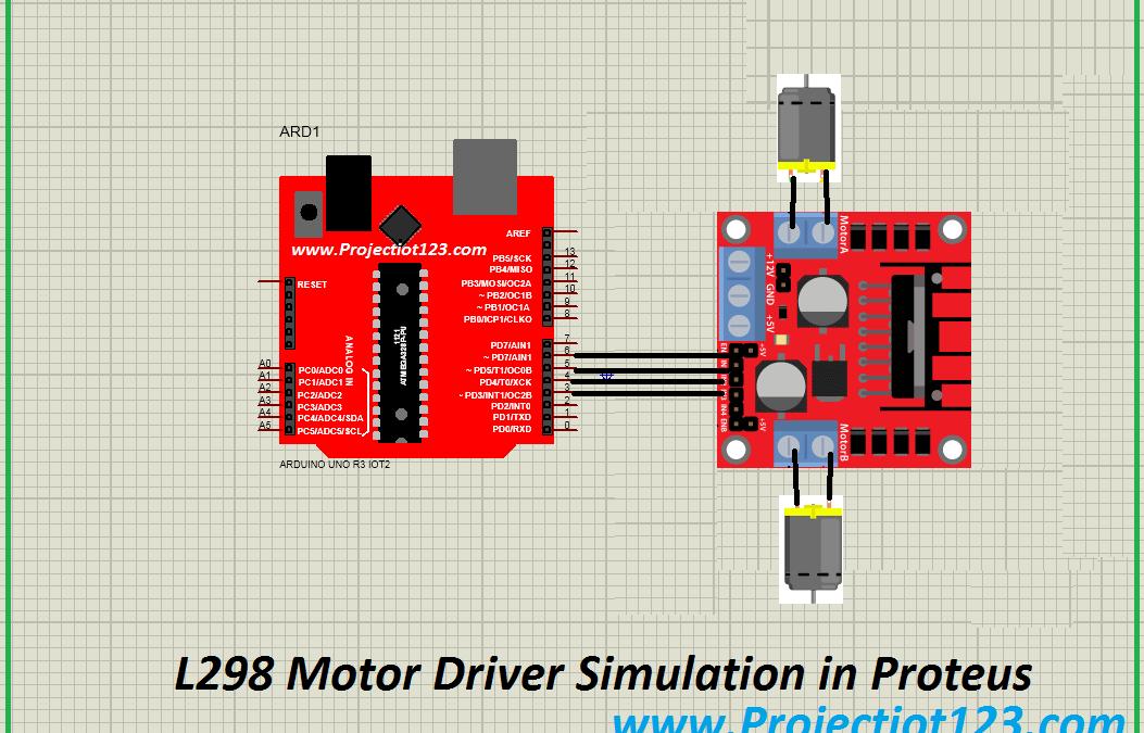 L298 Motor Driver Simulation in Proteus