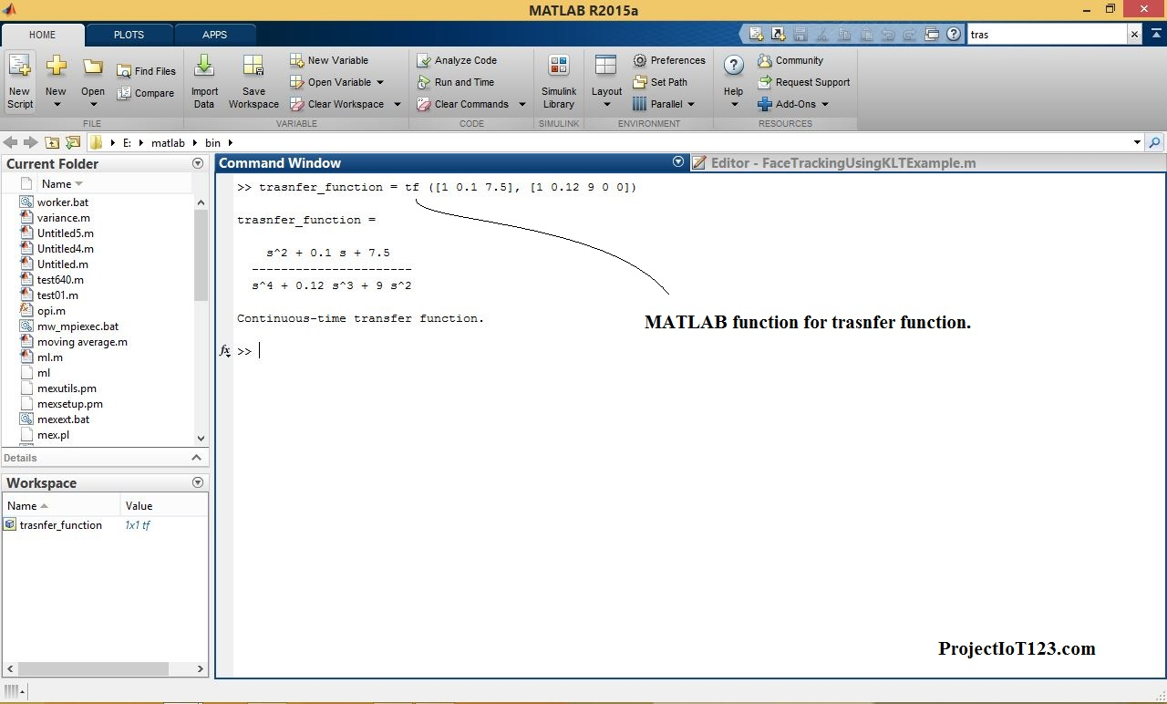 transfer function and bode plot in matlab - projectiot123