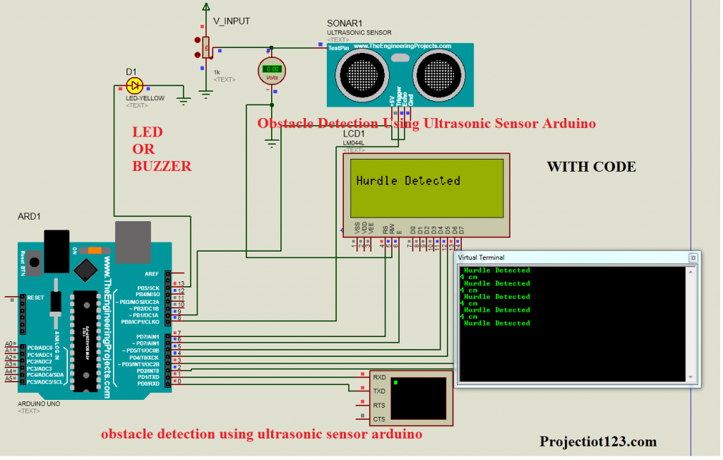 obstacle detection using ultrasonic sensor arduino