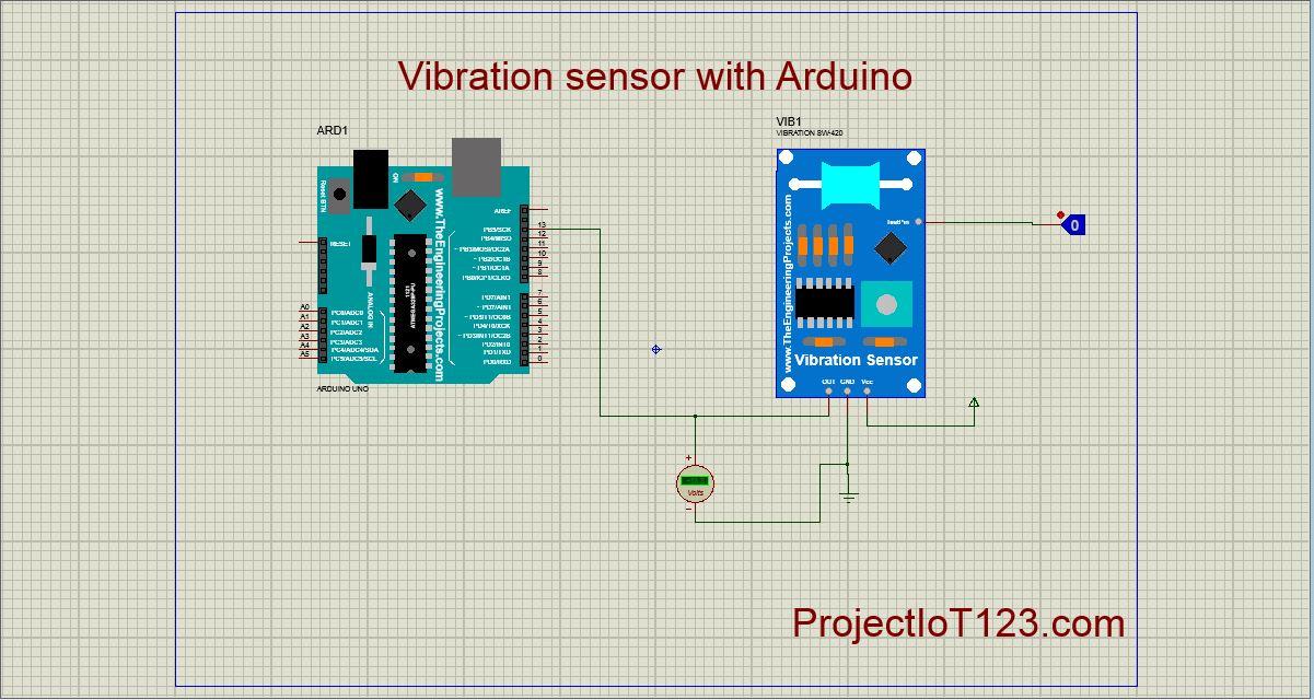Vibration Sensor Simulation in Proteus