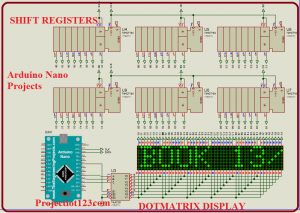 dotmatrix dsiplay using arduino,arduino projects,arduino nano projects