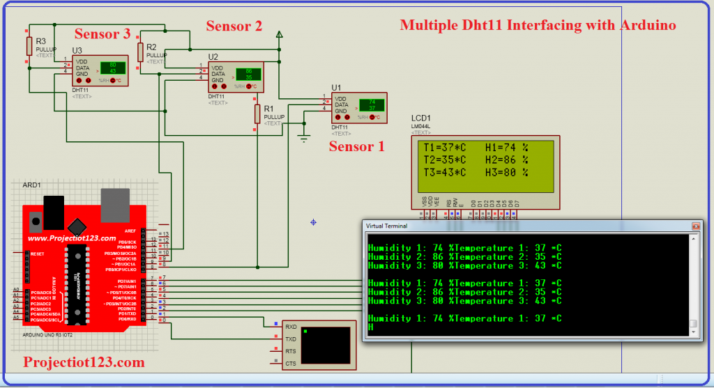 dht11 sensor in proteus