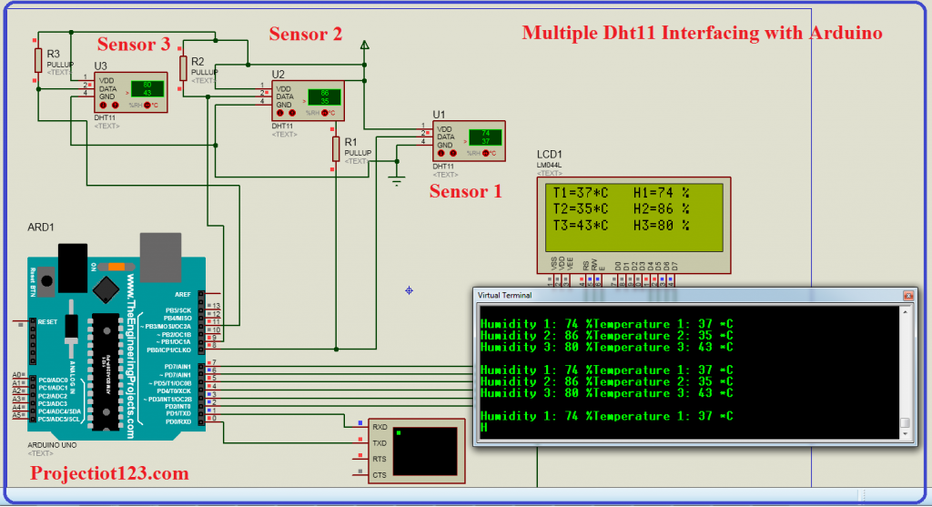 multiple dht11 interfacing with arduino,multiple dht11 library