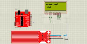 water sensor simulation in Proteus
