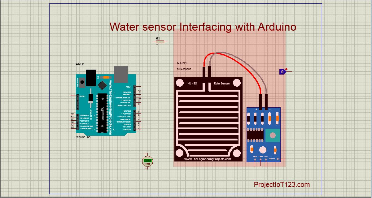 water sensor simulation in Proteus - projectiot123