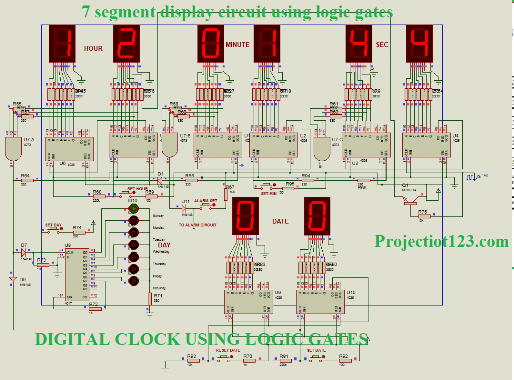 7 segment display circuit using logic gates,clock circuit using logic gates