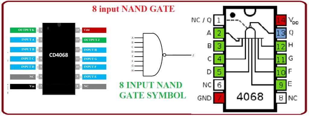 8 input nand gate,CD4068 NAND GATE IC,