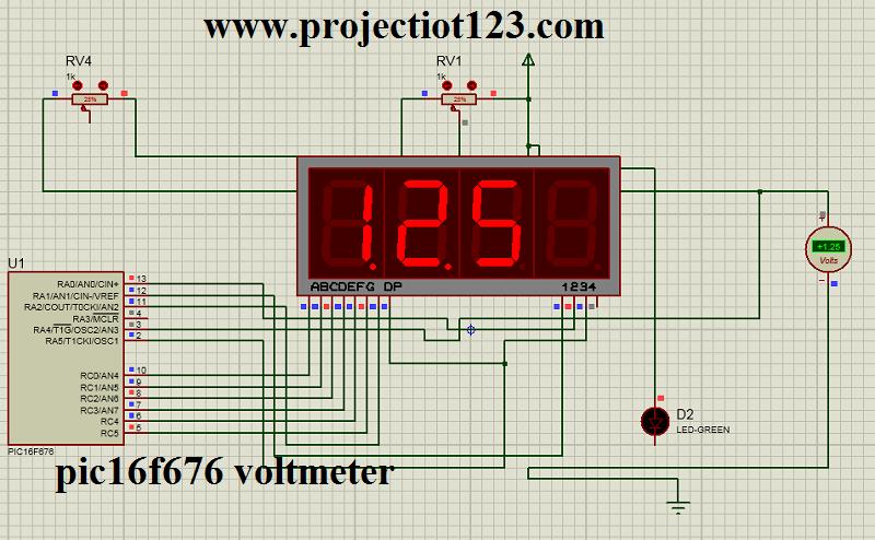 Pic 16f676 Microcontroller Voltmeter