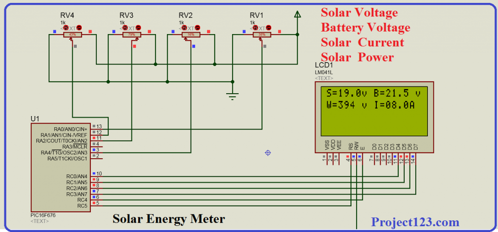 solar energy measurement using pic microcontroller,solar energy meter