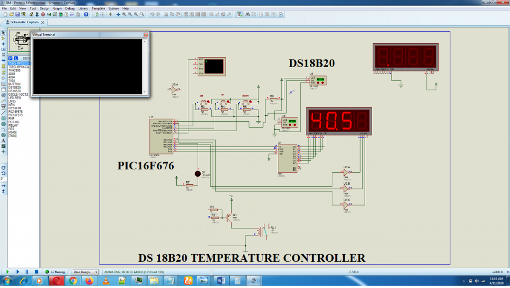 temperature controller,DS18B20 PIC MICROCONTROLLER,pic16f676 relay circuit