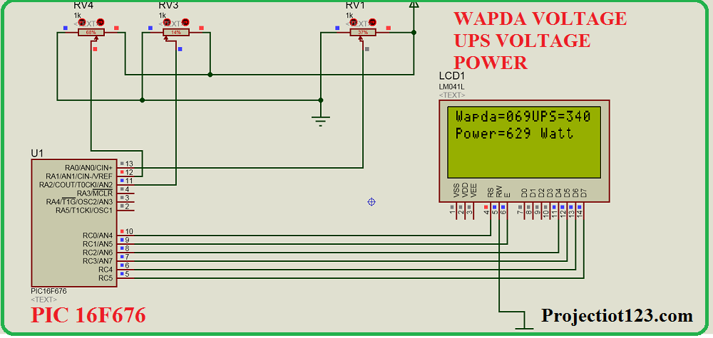 wapda ups voltage display pic microcontroller