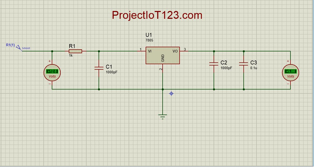 Proteus Library for 7805 Regulator