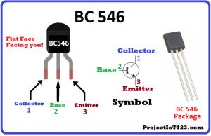 BC546 Pinout,BC546 ,symbol of the BC546 transistor