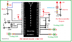 pic18f452 basic circuit,PIC18F452 Microcontroller Circuit Diagram