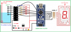 water level circuit,Circuit Diagram of Water Level Indicator Arduino,Arduino nano projects