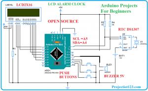 Arduino Alarm Clock using Rtc ds1307 Circuit Diagram,arduino projects,diy arduino project