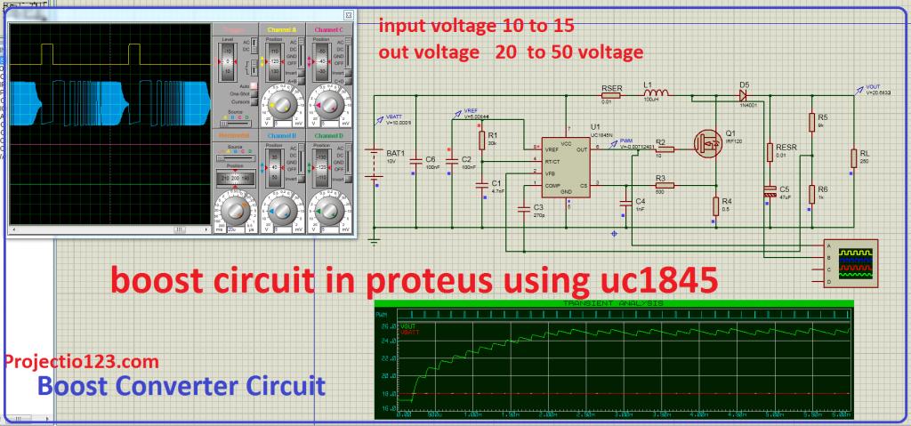 Boost Converter Circuit in Proteus Using uc1845,Boost Converter Circuit