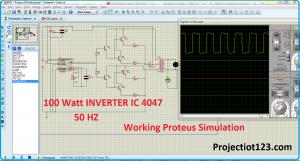 100 Watt INVERTER IC, 4047 proteus simulation,INVERTER circuit in proteus