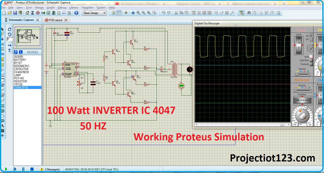 100 Watt INVERTER circuit IC 4047 pinout proteus simulation