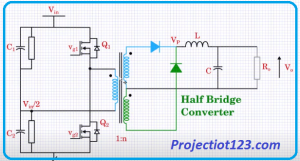 HALF BRIDGE CONVERTER Working,ir2104 DC to DC converter circuit