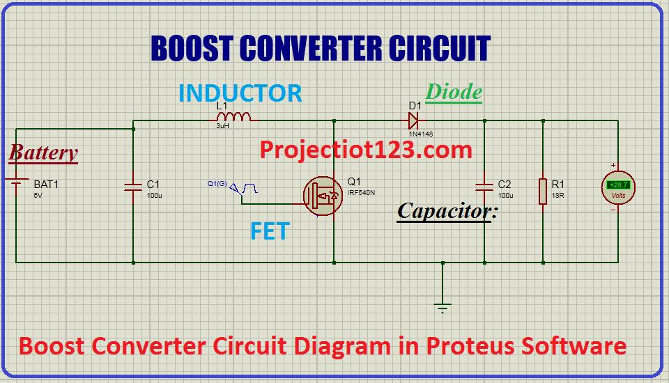 boost converter circuit diagram in proteus software