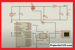 buck converter circuit with mosfet Pic Microcontroller in Proteus