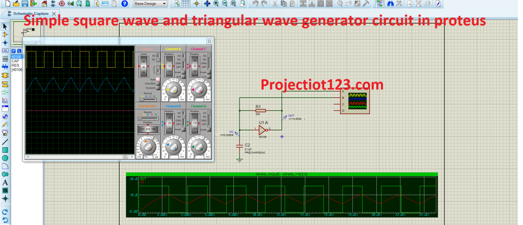 simple square wave and triangular wave generator circuit in proteus