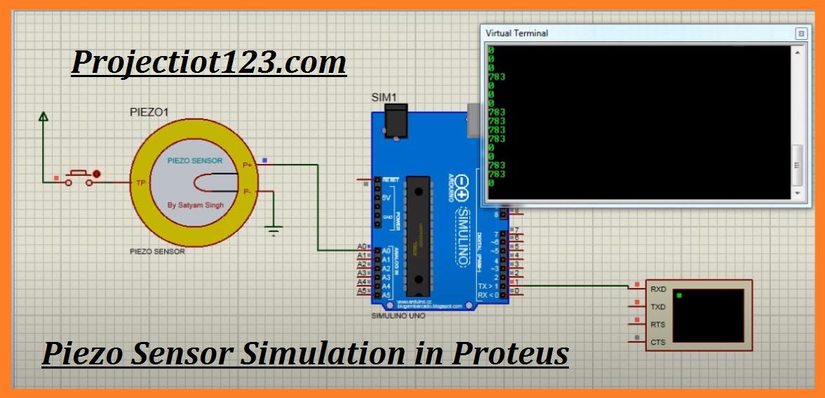 Piezo sensor Working Specification circuit Proteus Library