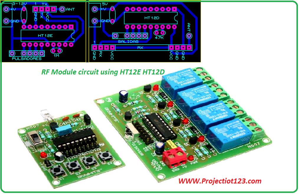 RF Module circuit using HT12E HT12D