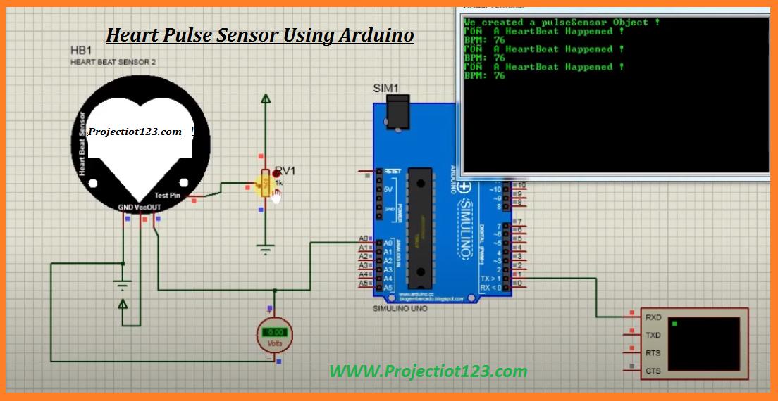 pulse sensor arduino code bpm arduino proteus library